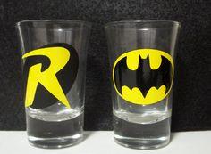 Batman and Robin Shot Glasses by TheCraftyGeek86 on Etsy, $12.00