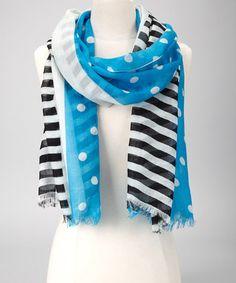 Royal Blue Polka Dot & Stripe Scarf by A & R Cashmere