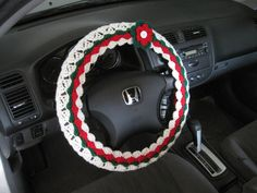 Holiday Steering Wheel Cover, Wheel Cozy with a Flower - cherry red/paddy green/soft white  (CSWC 6P-F) by ytang on Etsy
