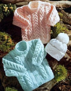 Baby Cardigan Jumper and Beanie Hat in DK 8 ply by CheapKnits4u, £1.00