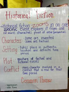 Historical Fiction Anchor Chart for 5th grade