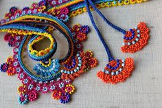Beaded lace necklace - crocheted with yellow, orange, magenta pink, indigo and turquoise blue beads by irregularexpressions