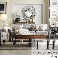 TRIBECCA HOME Uptown Peat Microfiber Suede Modern Sofa