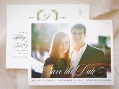 Your wedding begins with this rustic save the date postcard with photo. The perfect compliment to your laurel greenery wedding, this save the date is a great way to show off those pretty engagement photos. Save the dates are ideal for brides who want to give guests ample time to make