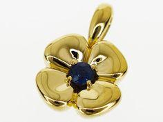 Mellerio dits Meller Sapphire(S0.40 ct) flower motif pendant top 18K YG 29490610 #MellerioditsMeller #Sapphireflowermotifpendanttop