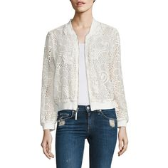 Ella Moss Pixie Lace Bomber Jacket (3,945 MXN) ❤ liked on Polyvore featuring outerwear, jackets, natural, floral print bomber jacket, flight jacket, lace jacket, white jacket and zip front jacket