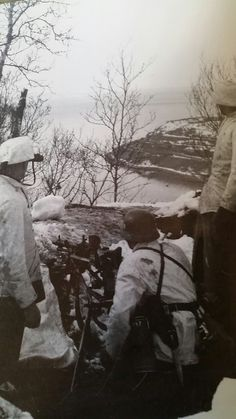 """miguiza: """"A German machine gun post overlooking a fiord near Narvik. The Battle for this ice-free port would dominate the final stages of the battle of Norway. Luftwaffe, Two Steps From Hell, Mg 34, Narvik, Imperial Japanese Navy, German Army, Silent Film, World War Ii, Wwii"""