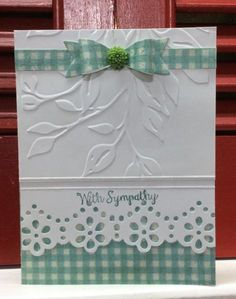 hand crafted acrd ... embossing folder texture ... lacy edge punch ... gingham print paper andpaper bow ... luv the country look ...