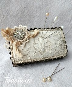 Ideas for using vintage linens...pincushion using vintage tart pans