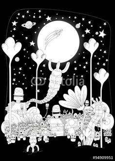Robotic Land #fotolia #cartoon #comic #illustration #kids #children #print