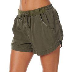 Rusty Leap Womens Short Green ($54) ❤ liked on Polyvore featuring shorts, green, jogger shorts, women, elastic waist shorts, green shorts, walking shorts and short shorts