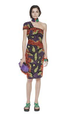 #MMissoni   Python Jacquard single shoulder dress   Summer 2014 Collection