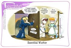 Pocket Princesses No. Essential Worker by Amy Mebberson Disney Pixar, Walt Disney, Disney Princess Cartoons, Disney Jokes, Funny Disney Memes, Disney Fan Art, Cute Disney, Disney And Dreamworks, Disney Cartoons
