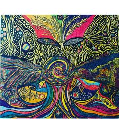 Colored Pencil on wood. Abstract art. Fantasy, Imagination. Mother Earth