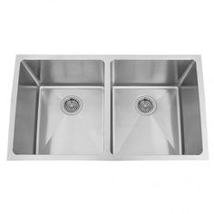 """32"""" Infinite Deep Double-Bowl Stainless Steel Undermount Sink   $525   drain and flange set   3  1/2"""""""