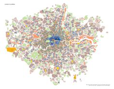 #London's localities - districts and neighborhoods in greater London in an organic shape with lovely pastels