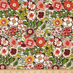 Alexander Henry Bella Strada Rennie Lt Blue Multi from @fabricdotcom  Designed by De Leon Design Group for Alexander Henry, this cotton print fabric is perfect for quilting, apparel and home decor accents. Colors include shades of green, yellow, peach, orange, brown and mauve.