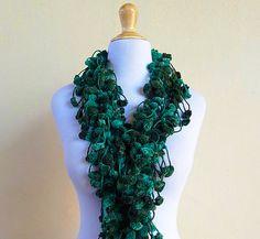 Mulberry Scarf  GREEN FUSION  pompom scarf  by OriginalDesignsByAR, $14.95