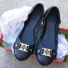 TB Flats-Navy Slightly used navy flats. The salesperson lied and said they were black. I'm in need of a black flats. They are in great shape, almost like new. Didn't realize it's blue until the next day after using it once for two hours. Gold embellishment is adorable. Tory Burch Shoes Flats & Loafers