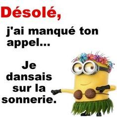 Sorry, I have missed your call., I was dancing to the ring-tone ! Funny Signs, Funny Jokes, Funny Minion, Citation Minion, Ah Ok, Funny True Quotes, Funny Comments, Lol, Zodiac Quotes