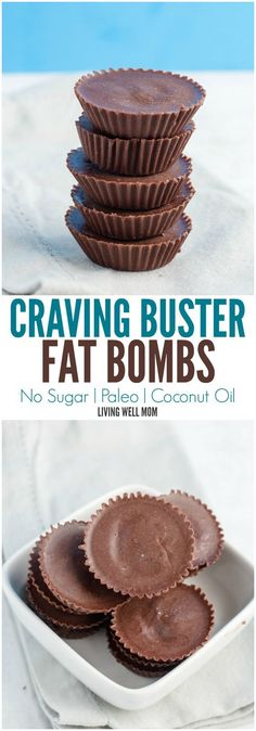 Sugar-Free Craving Buster Chocolate Fat Bombs take just 2 minutes to make and the benefits are incredible! What other chocolate recipe has the potential to help you lose weight boost your metabolism stop sugar and carb cravings and even improve your mo Paleo Dessert, Paleo Snack, Desserts Keto, Desserts Sains, Brownie Desserts, Dessert Recipes, Keto Snacks, Dairy Free Desserts, Paleo Treats