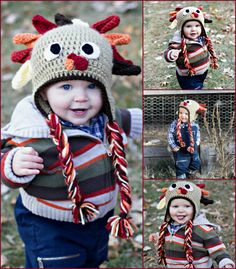 Crocheted Turkey Hat With Ear Flaps. Thanks Giving Hat by AdairToCrochet. Photo by Brooke of BP Photography! #AdairToCrochet #HandMade #PhotoProp #Crochet #Turkey #ThanksGiving #BPPhotography