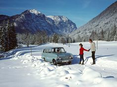 Isn't it lovely to be German? To be able to walk around only clad in thights in winter? It is so liberating. The winter version of FKK. BTW, the car is a '63 Opel Kadett Caravan.