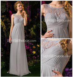 la dama de honor vestido de georgette de barrido tren cepillo y ata un vestido joya línea (2092558) - USD $ 99.99
