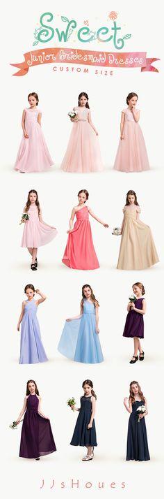 Sweet Junior Bridesmaid Dresses! CUSTOM SIZE! #Bridesmaiddresses