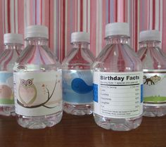 Custom water bottle labels... Great idea for the pool parties! :) (from Chickabug)