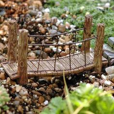 Gardening Diy Miniature Suspension Bridge for Fairy Garden - The Woodland Suspension Bridge is high x 1 wide x long and made of colorfast resin and wire for use indoors or out. Fairy Garden Furniture, Fairy Garden Houses, Garden Gates, Garden Bridge, Sloped Garden, Diy Garden Projects, Craft Projects, Fairy Garden Accessories, Miniature Fairy Gardens