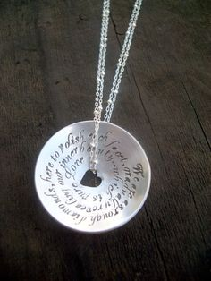 Hand Stamped Domed Pendant...love the heart punch in the middle