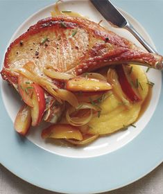 Pork Chops With Sautéed Apples and Polenta from realsimple.com #myplate #protein