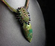 Bead Weaving Natural Green Jade Pendant with Beaded by TheHighBead, $45.00