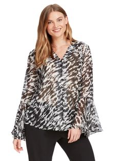 Black & White Printed Top With Bell Sleeves