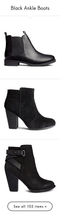 """""""Black Ankle Boots"""" by teresamargit ❤ liked on Polyvore featuring shoes, boots, ankle booties, botas, sapatos, black, black chelsea boots, black booties, chelsea bootie and black ankle booties"""