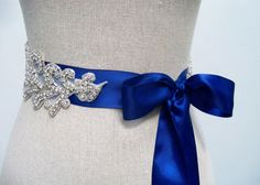 something blue wedding dress sash (by sparklesm)