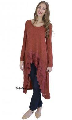 Fame Long Sleeve Extreme Hi Low Top With Lace Hem In Rust crochet shirt extender bohemian camisole, crochet cami, crochet camisole, ladies shirt dress, ladies cream slip, ladies tank top tunic, womans slip, ladies cami,