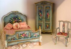 Hand Painted bedroom  miniature part of a set $450.00 SOLD