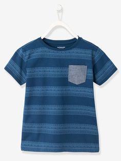 T-Shirt für Jungen, kleine Tasche - GRAU MELIERT+MARINE+ZIEGEL - 3