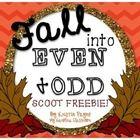 """This """"scoot"""" activity is fall-themed! (Happy fall, y'all!) It includes 20 even/odd task cards, 8 additional """"break"""" cards, a student recording sheet, and an answer key. It can be done whole-group as a """"scoot"""" activity, or you can make it one of your math centers. This forever freebie is a small sample of a new product coming soon: Fall Into Even and Odd: Math Bundle"""