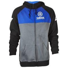 The Yamaha Racing Zip-Up Hooded Sweatshirt by One Industries® features: 60% cotton/ 40% polyester ring spun fleece Stacked Yamaha Racing logo on chest ONE Industries® logos on the sleeves Double front pockets Blue/Black/Gray