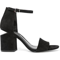 Alexander Wang Abby cutout suede sandals (1.895 BRL) ❤ liked on Polyvore featuring shoes, sandals, alexander wang, heels, black, high heel sandals, black high heel sandals, ankle wrap sandals, high heel shoes and buckle sandals