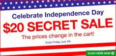 Happy Independence Day! Ends tonight: Don't miss out on our 4th of July Secret Sale. -K