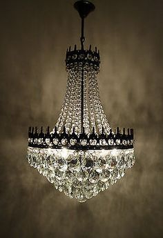 Antique Vintage French Basket Style Brass Crystals Huge Chandelier 1950 S