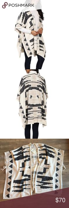 """Lucky Brand Santa Fe Poncho Southwest Style NWT Lucky Brand Women's Santa Fe Poncho Southwest Style - Very versatile Original Price $129  One Size Open Front Rope Ties under the armpits to adjust sizing  Colors: Black, Tan, Beige, Ivory  Nonsmoking Home  Measurements: 28"""" Length  Thanks for stopping by my store! I make every effort to describe my items in detail, specifically any flaws or issues with my items along with any measurements to ensure proper fit with clothing. Please ask…"""