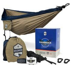 Browon Lightweight Double Camping Hammock Includes 120 Lumen Backpacking Headlamp and Tree Straps Carabiners Stuff Sack ** Find out more details by clicking the image : Hammock tent Camping Cot, Camping And Hiking, Camping Survival, Camping Hammock, Camping Gear, Backpacking, Hammock Tent, Hammocks, Bikes Games