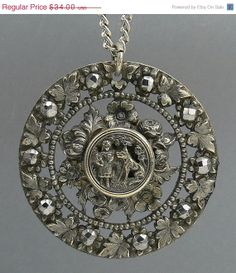 #jewelry Antique Silver Cut Steel Pendant Victorian Button Red by jujubee1.etsy.com , $30.60