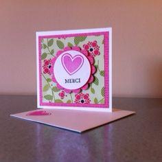 """Un simple """"Merci"""" sur une mini carte de 3x3 po."""
