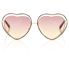 Chloé Poppy Heart-Shaped Sunglasses (5.400.845 IDR) ❤ liked on Polyvore featuring accessories, eyewear, sunglasses, glasses, lunettes, pink, heart glasses, pink heart shaped glasses, chloe eyewear and heart shaped glasses
